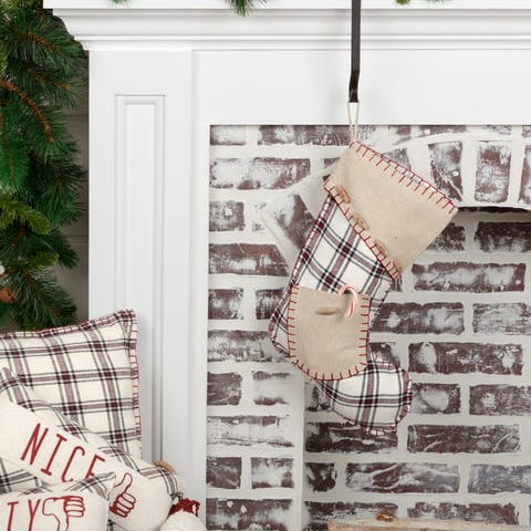 White Farmhouse Christmas Holiday Decor VHC Amory Stocking Fabric Loop Cotton Plaid Appliqued Pocket Chambray