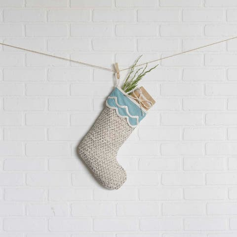 White Coastal Christmas Holiday Decor VHC Sanbourne Stocking Fabric Loop Cotton Rope Chambray