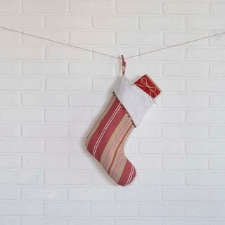 Red Farmhouse Christmas Holiday Decor VHC Vintage Stripe Stocking Fabric Loop Cotton Striped Bells