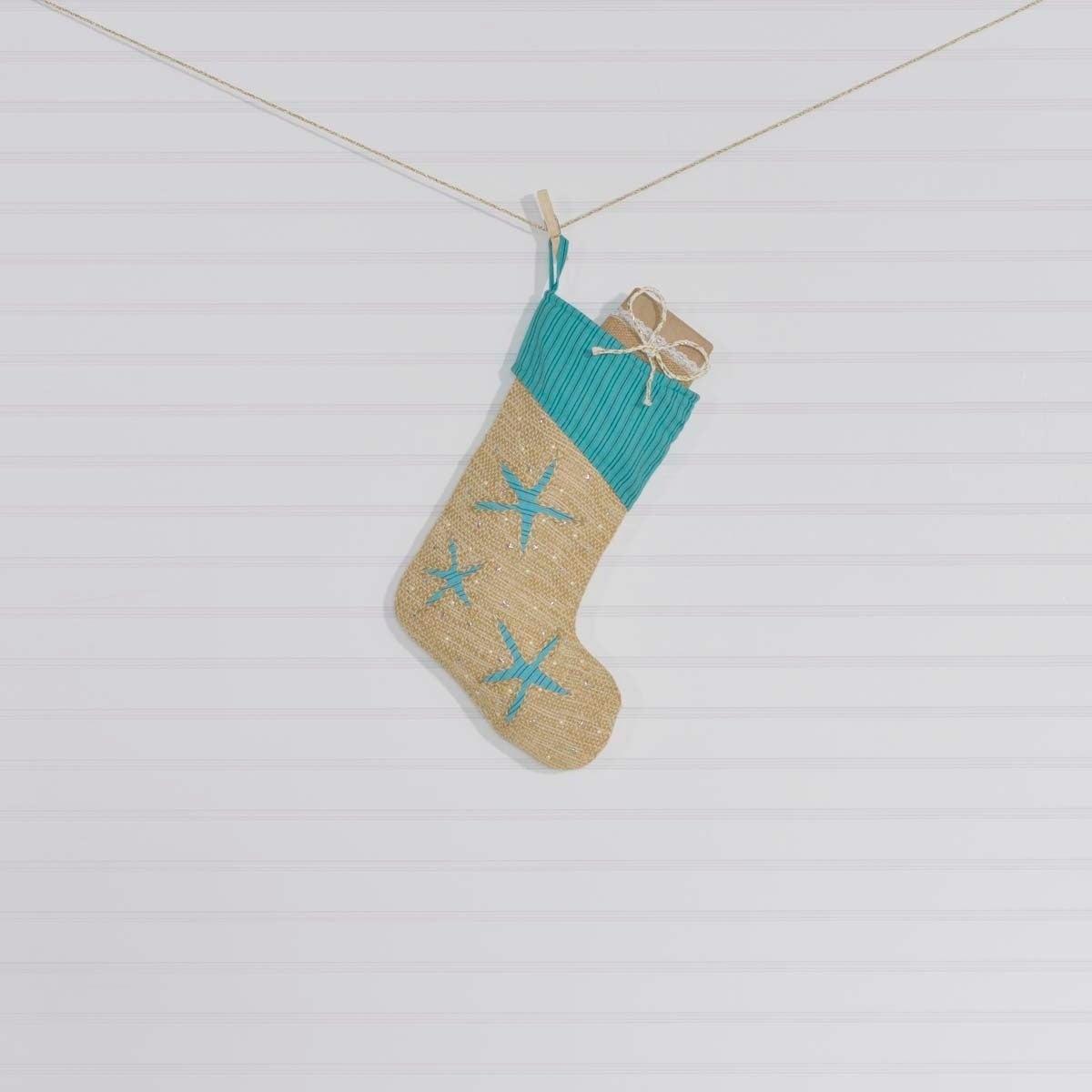 """VHC Brands Nerine Stocking (11"""" x 15""""), Blue (Cotton)"""
