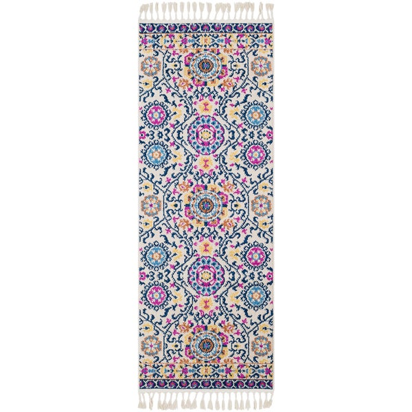 Shop Boho Suzani Tassel Khaki/Blue/Pink Runner Area Rug