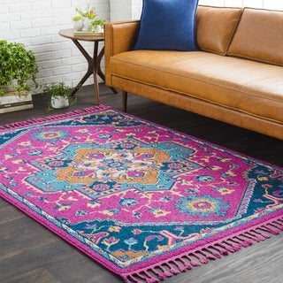 Boho Medallion Bright Pink Tassel Runner (2'7 x 7'3)