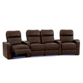 Octane Turbo XL700 Brown Leather Power Home Theater Seating Set (Row of 4)