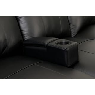 Octane Seating Black Leather Removable Armrest