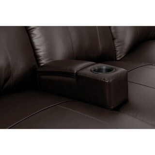Octane Brown Leather/Wood Removable Armrest With Cup Holder and Storage Compartment