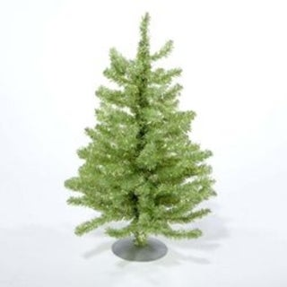 "18"" Sparkling Kiwi Green and Silver Retro Tinsel Table Top Christmas Tree - Unlit"