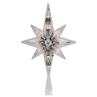 """10.75"""" Faceted Star of Bethlehem Christmas Tree Topper - Clear Lights"""