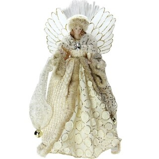 "14"" Lighted B/O Fiber Optic Angel with Cream and Gold Christmas Tree Topper"