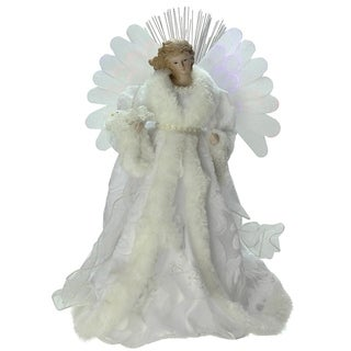 "13"" Lighted B/O Fiber Optic Angel with White Gown Christmas Tree Topper"