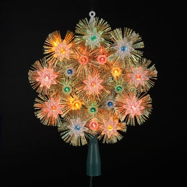 "8"" Retro Gold Tinsel Snowflake Christmas Tree Topper - Multi Lights"