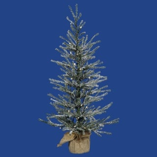 "18"" Pre-Lit Frosted Angel Pine Artificial Christmas Twig Tree - Clear Lights"