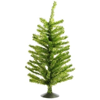"16"" Sparkling Kiwi Green and Silver Retro Tinsel Table Top Christmas Tree - Unlit"