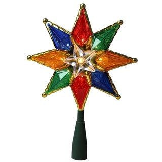 "8"" Multi-Color Mosaic 8-Point Star Christmas Tree Topper - Clear Lights"
