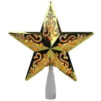 "8.5"" Gold Star Cut-Out Design Christmas Tree Topper - Clear Lights"