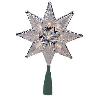 "8"" Silver Mosaic 8-Point Star Christmas Tree Topper - Clear Lights"
