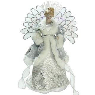 "13"" Lighted B/O Fiber Optic Angel in Silver Gray Gown Christmas Tree Topper"