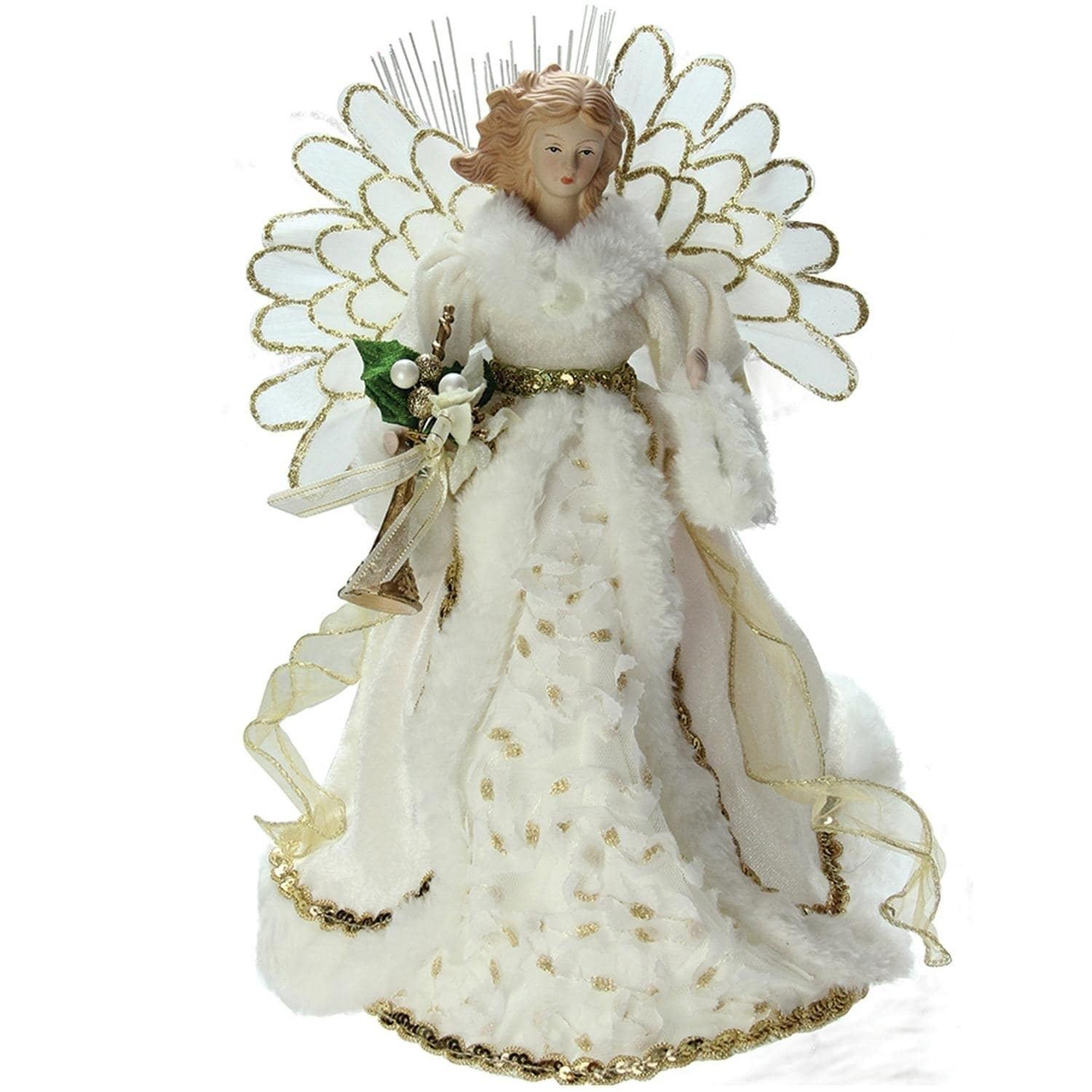 "14"" Lighted B/O Fiber Optic Angel in Cream and Gold Gown ..."