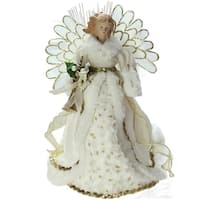 "14"" Lighted B/O Fiber Optic Angel in Cream and Gold Gown Christmas Tree Topper"