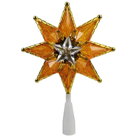 """8"""" Gold Mosaic 8-Point Star Christmas Tree Topper - Clear Lights"""