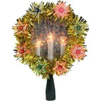 "7"" Gold Tinsel Wreath with Candles Christmas Tree Topper - Multi Lights"
