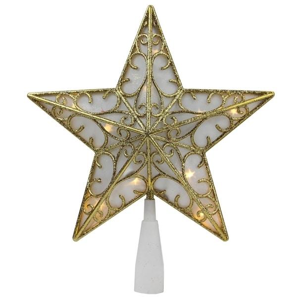 """9"""" Gold Glitter Star LED Christmas Tree Topper - Warm White Lights"""