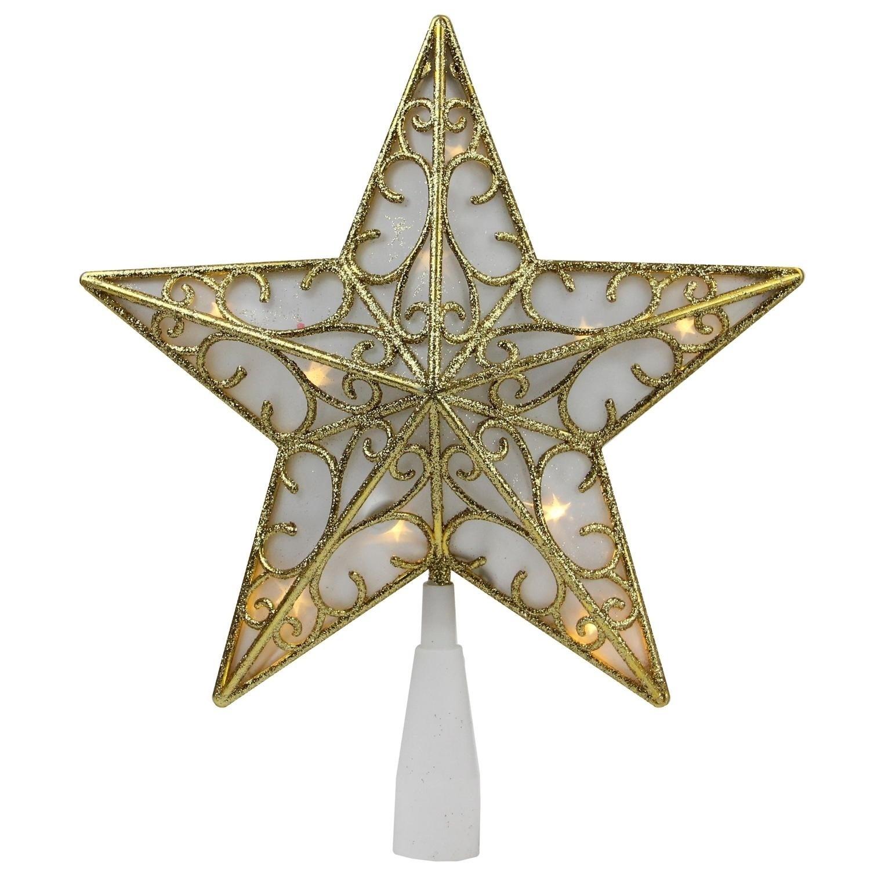 "9"" Gold Glitter Star LED Christmas Tree Topper - Warm Whi..."