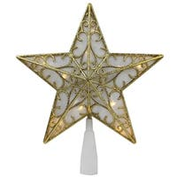 "9"" Gold Glitter Star LED Christmas Tree Topper - Warm White Lights"