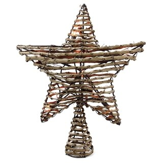 "11.5"" Natural Brown Rattan Star Christmas Tree Topper - Clear Lights"