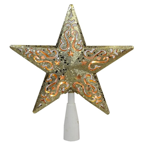 "8.5"" Gold Glitter Star Cut-Out Design Christmas Tree Topper - Clear Lights"