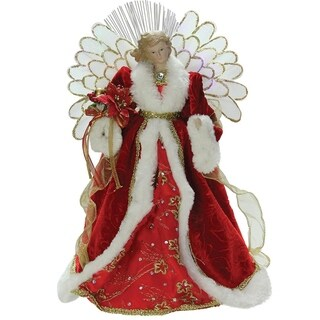 "14.5"" Lighted B/O Fiber Optic Angel with Red Gown Christmas Tree Topper"