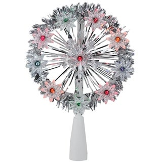 "7"" Silver Tinsel Snowflake Starburst Christmas Tree Topper - Multi Lights"