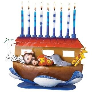 "11.5"" Handcrafted Noah's Ark Childrens Chanukah Hanukkah Menorah"