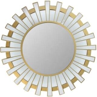 Matte Gold Glass/Plastic Regal Sunburst Decorative Round Wall Mirror