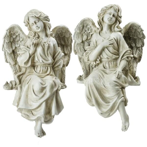 "Set of 2 Decorative Sitting Angel Outdoor Garden Statues 14"""