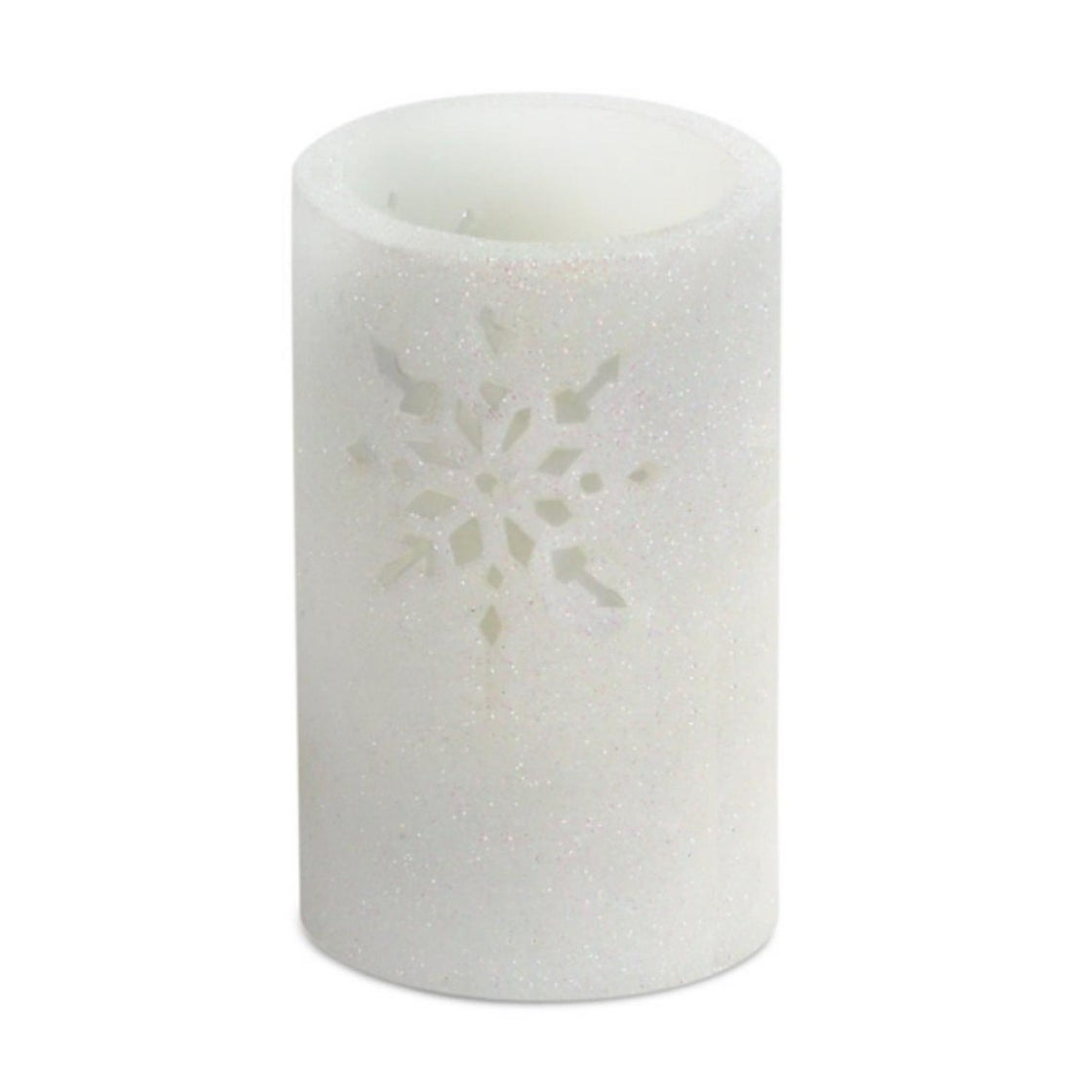 """6"""" White Glitter Snowflake Cut-Out Battery Operated Flame..."""