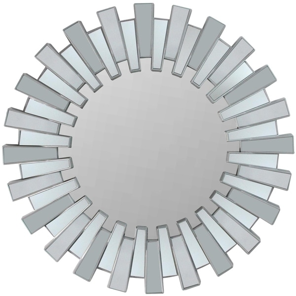 """25.5"""" Aztec Inspired Sparkling Sunburst Matte Silver Decorative Round Wall Mirror"""