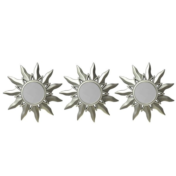 "Set of 3 Myan Inspired Petite Sunburst Matte Champagne Silver Decorative Round Mirrors 9.5"" - Metallic"