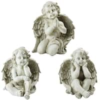Set of 3 Sitting Cherub Angel Decorative Outdoor Garden Statues 11""