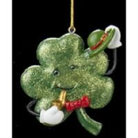 "3"" Luck of the Irish Smiling Shamrock with Green Top Hat and a Smoking Pipe Christmas Ornament"