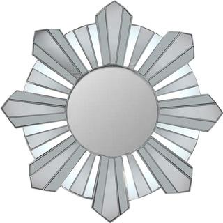 Sparkling Sunburst Wave Matte Silver Plastic Frame 25-inch Decorative Round Wall Mirror