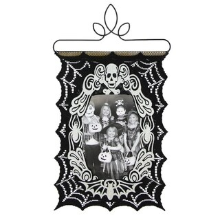 "14.5"" Decorative Glow-in-the-Dark Black Spider Web Halloween Photo Holder Wall Hanging"