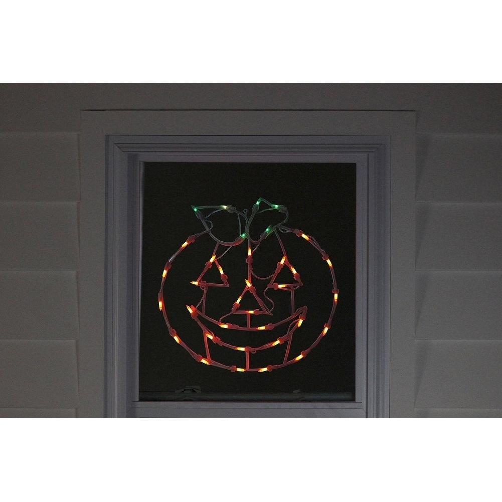 "18"" Lighted Pumpkin Thanksgiving Window Silhouette Decora..."