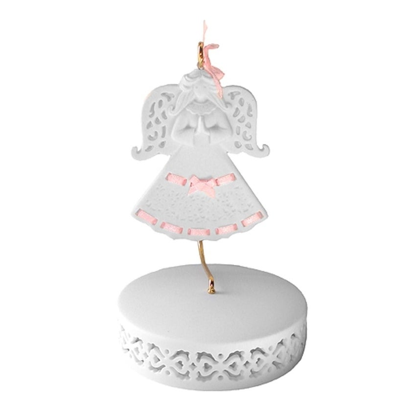 Roman Pink Ribbon Porcelain Angel Ornament With Hanger an...