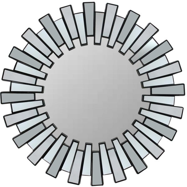 "25.5"" Aztec Inspired Sparkling Sunburst Matte Black Decorative Round Wall Mirror - A/N"