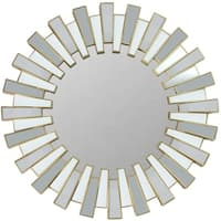 Aztec-inspired Sunburst Sparkling-matte-gold-finished Plastic and Glass 25.5-inch Decorative Round Wall Mirror