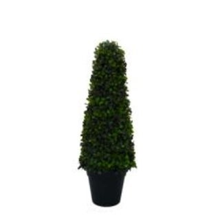 """36"""" Decorative Artificial Two Toned Conical Shaped Potted Topiary Shrub"""