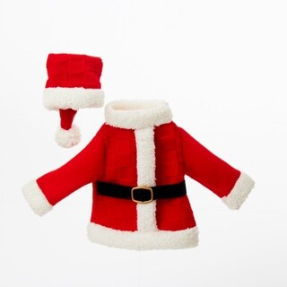 """11"""" Festive Red and White Santa's Coat and Hat Decorative Knit Wine Bottle Cover"""