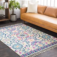 The Curated Nomad Dartmouth Navy Medallion Tassel Rug