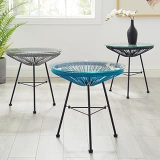 Sarcelles Modern Woven Wicker Patio Side Table with Glass Top by Corvus|https://ak1.ostkcdn.com/images/products/17958315/P24135365.jpg?impolicy=medium