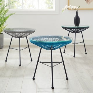 Sarcelles Modern Woven Wicker Patio Side Table with Glass Top by Corvus (3 options available)